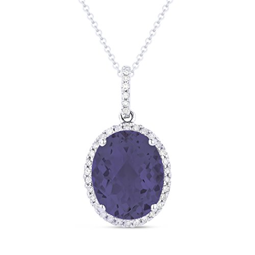 Eros' Iced Showroom Created-Alexandrite Gemstone & Accented White Diamond Pendant-Necklace Set In 14K White-Gold