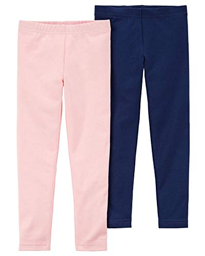 (Carter's Girls' Baby, Toddler, Kids, 2 Pack Cotton Leggings/Shorts, Light Pink/Navy, 4T )
