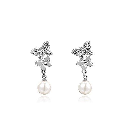 Suyi Plated Butterfly Earrings Diamond