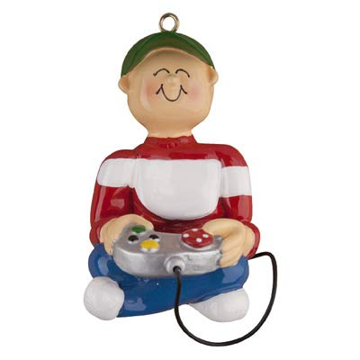 Male Video Game Player Personalized Christmas Tree Ornament