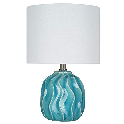 Ceramic Wave Table Lamp - Catalina Lighting 22145-000 Transitional Textured Ceramic Accent Table Lamp with Linen Shade, 15.25