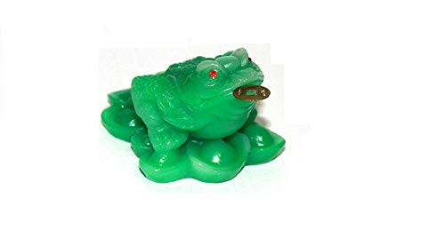 Monkey King TM Feng Shui Three Legged Wealth Money Frog or Money Toad on The Pile of Yuan Bao and Base to Attract Wealth and Good Luck (Jade/Clear)