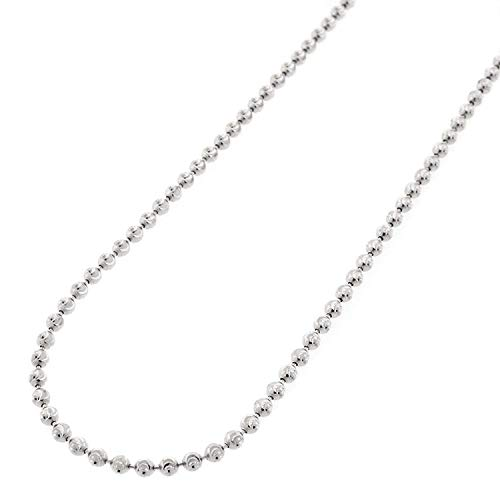 - Authentic Solid Sterling Silver Moon-Cut Ball Bead .925 Rhodium Beaded Heavy-Duty Necklace Chains 16