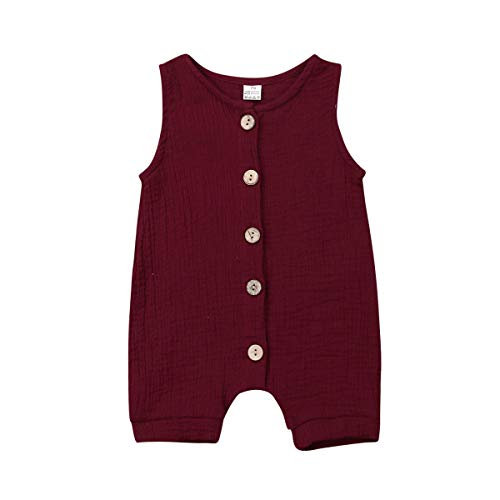Infant Newborn Baby Boys Girls Romper Bodysuit Jumpsuit Outfits Overalls Clothes 0-24 M (6-12 Months, Red)