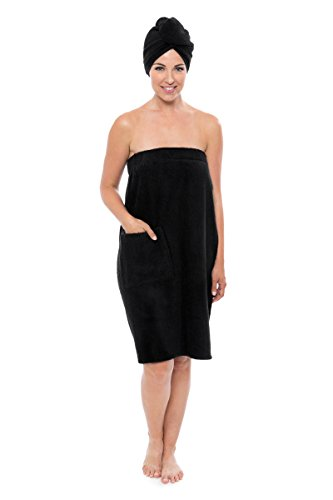 TexereSilk Women's Towel Wrap - Bamboo Viscose Spa Wrap Set by Texere (The Waterfall, Black, Small/Medium) Holiday Gift For Her (Wrap Robe)