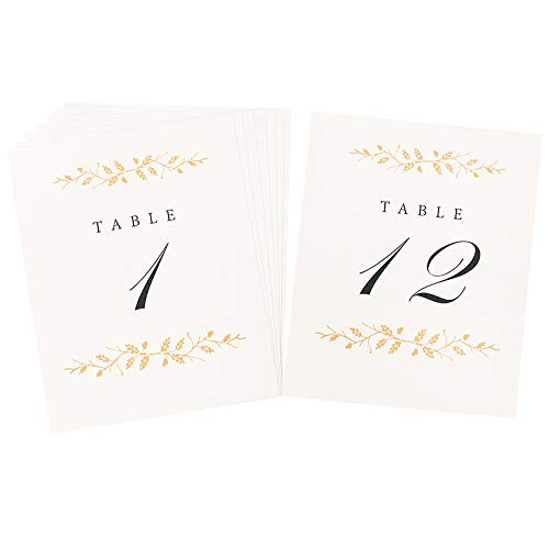 Wedding Table Numbers | Elegant 1-12 Double Sided Pearl White and Gold Table Numbers on Heavy Cardstock with Pearlescent Finish | Includes Mr and Mrs Table Cards and 2 Reserved Table Cards ()