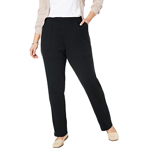 (Woman Within Women's Plus Size Petite 7-Day Knit Straight Leg Pant - Black, L)