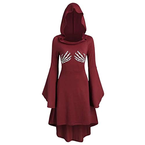 FEDULK Womens Halloween Costume Hooded Dress Long Sleeve Skeleton Print Lace Up Midi Dress Vintage Cloak(Wine, ()