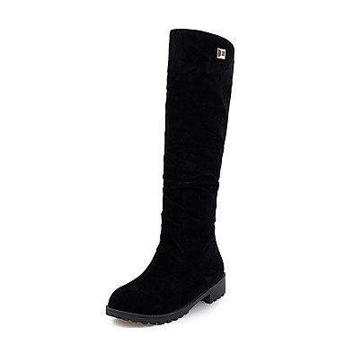 RTRY Zapatos De Mujer Polipiel Invierno Botas De Montar Botas De Tacón Bajo La Rodilla Botas Altas De Punta Redonda Para Vestimenta Casual Gris Negro Rojo US9.5-10 / EU41 / UK7.5-8 / CN42