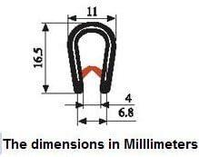12,7//81,3 cm noir Joint noir large en U Hauteur 53,3//81,3/cm plan de serrage. Hauteur 7,6//162,5 cm
