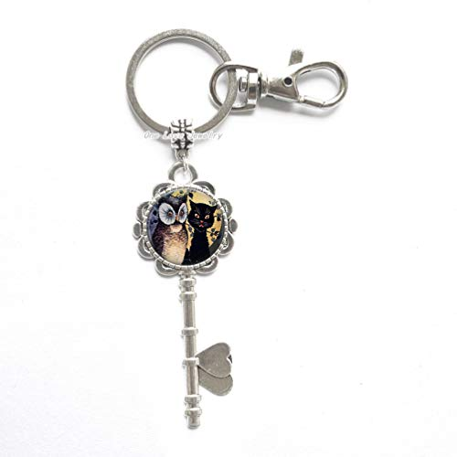- Owl and cat Photo Key Key Ring Key Keychain or Key Chain Altered Art Jewelry Glass Key Key Ring Fall Halloween Gift,TAP400