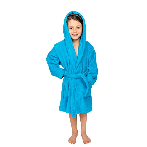 Bagno Milano Kids - Unisex Hooded Bathrobe - 100% Organic Turkish Cotton - Boys - Girls Robe, Made in Turkey (Large/Age 9-12, -