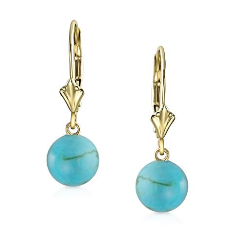 Real 14K Yellow Gold Stabilized Turquoise Round Bead Leverback Dangle Ball Drop Earrings For Women December Birthstone