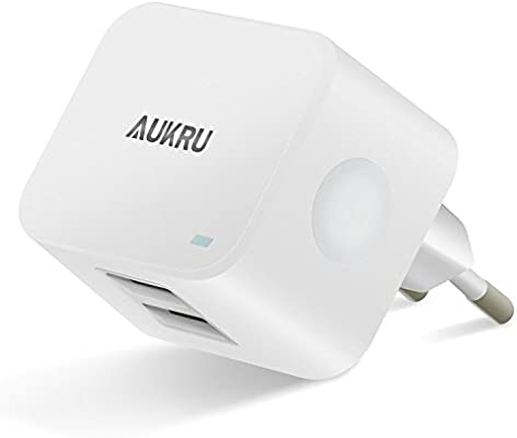 Aukru 5V 3.4A cargador con 2 puertos usb para iphone ...