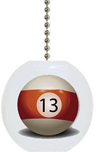 Carolina Hardware and Decor 1043F Billiards 13 Pool Ball Ceramic Fan Pull