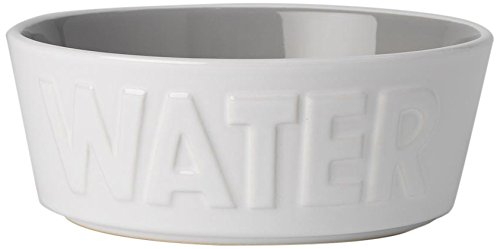 PetRageous 14014 Back to Basics Water White/Gray 2.5 Cups Bowl