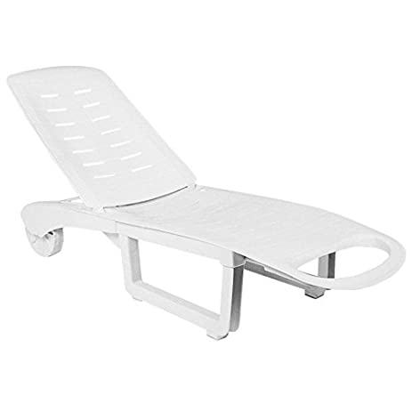 Plastic Folding Patio Chaise Lounge With Wheels In White Finish Set Of 2