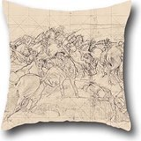 Oil Painting George W. Lambert - The Charge Of The 4th Light Horse Brigade At Beersheba Pillow Shams 16 X 16 Inches / 40 By 40 Cm For Wife,valentine,bedding,family,valentine,bench With Double Sides
