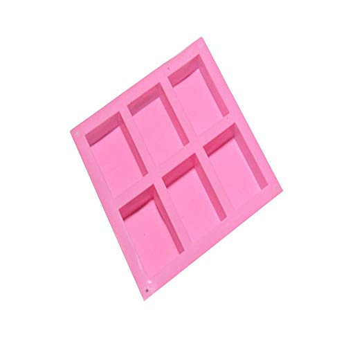Clearance Sale!UMFun 6 Cavity Plain Basic Rectangle Silicone Mould For Homemade Craft Soap Mold -