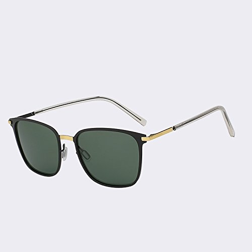 hombre polarizadas Gafas Vintage gafas green lujo para negro en para de mir gafas w Piazza Black hombres sol TIANLIANG04 calidad sol plata la de gafas UV400 de de G15 orientar W 56qX7ww