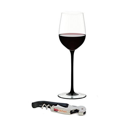Riedel Sommeliers Black Tie Leaded Crystal Mature Bordeaux Wine Glass with Bonus BigKitchen Waiter's Corkscrew