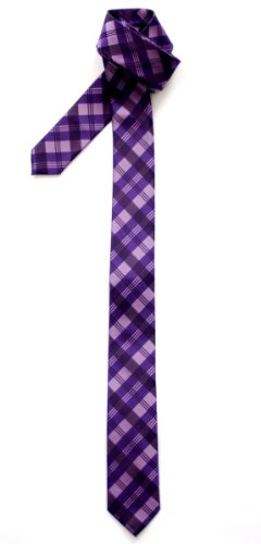 Retreez Tartan Check Patterns Woven Microfiber Skinny Tie - (Purple Skinny Tie)