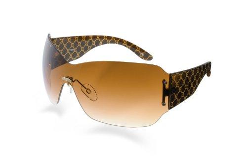 Blublocker Brown/Tan Frameless Shield Sunglasses 77mm wid...