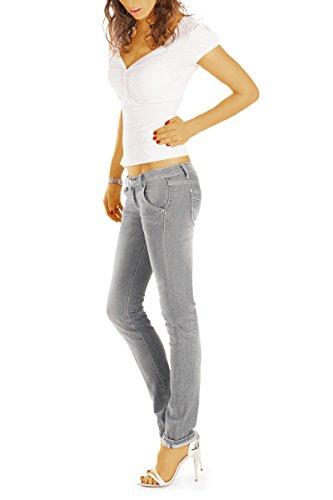 taille Gris femme en basse jean pantalon slim Bestyledberlin j50k jean fit ZawBSxqn