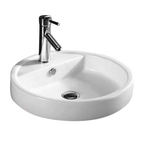 Caracalla CA4039A-One Hole-637509836610 Ceramic Self Rimming Washbasin, White