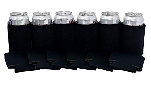 QualityPerfection 4 Black Party Drink Blank Beer Can Coolers(4,6,12,25,50,100 200 Bulk Pack),Soda Coolies Sleeves | Soft, Insulated Coolers | 30 Colors | Perfect DIY Projects,Holidays,Events ()