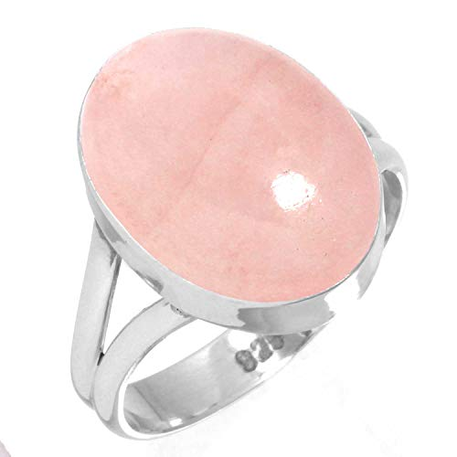 925 Sterling Silver Women Jewelry Natural Rose Quartz Ring Size 7.5