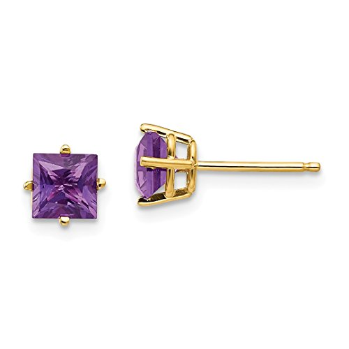 (ICE CARATS 14kt Yellow Gold 5mm Princess Cut Purple Amethyst Post Stud Ball Button Earrings Gemstone Fine Jewelry Ideal Gifts For Women Gift Set From Heart)