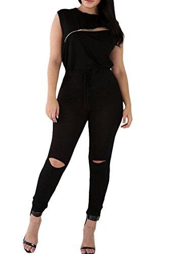 Womens Summer Sleeveless Broken Hole Tie Waist Pants Jumpsuit Romper M Black