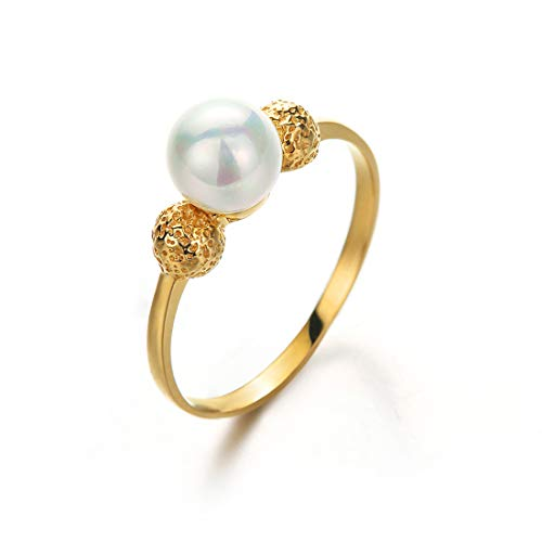 Carleen 14K Solid Yellow Gold Akoya Seawater Pearl Ring Dainty Fine Jewelry for Women Girls (5.5)