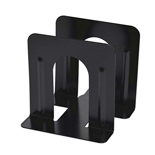 Iulove Black Metal Non-Slip Bookend Bracket Heavy Book End Office Book Stopper