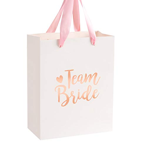 Crisky Team Bride Bags Bridesmaid Gift Bags Bride Tribe Bags Hangover Recovery Kit for Bachelorotte Bridal Shower Hen's Party Favors Wedding Decorations [ Pack of 12, Rose Gold Foil ]
