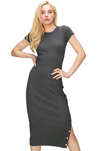 Monologue Apparel Women's Short Sleeve Casual Midi Bodycon Ribbed Snap Side Slit Dress (Charcoal, X-Large)