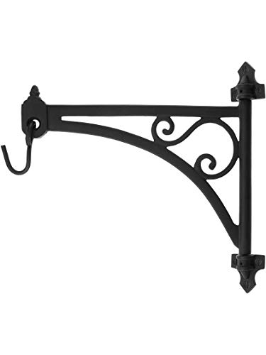 House of Antique Hardware R-010SE-2016713 Cast Iron Swing-Arm Plant Hanger in Natural Black