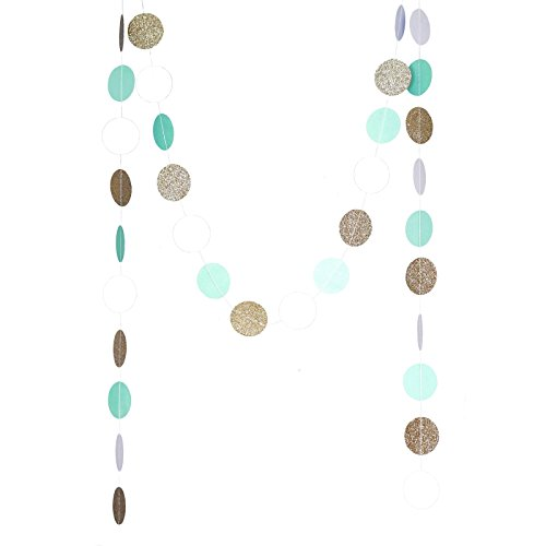 Chloe Elizabeth Circle Dots Paper Party Garland Backdrop (10 Feet Long) - Mint, White, Gold Glitter