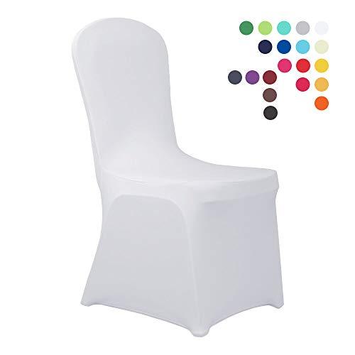 HAORUI Conjunto de Cubiertas Spandex Stretch Lycra Chair de 4 Modernas Fundas de poliester Lycra Silla para Bodas Evento Aniversario Dinning Decoracion(Un Paquete de 4, Blanco)