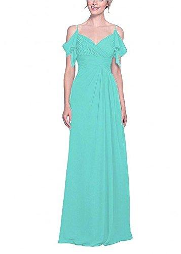 Botong Neck Prom Dress Summer V Bridesmaid Blush Chiffon Gown Beach Turquoise Long SrSn1x8qw