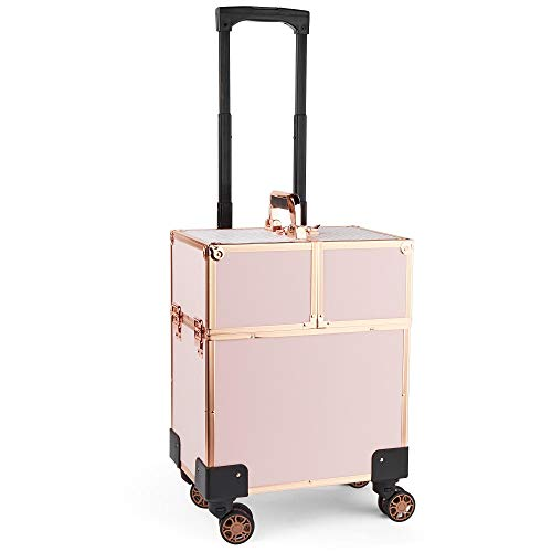 Beautify Rose Gold Beauty Trolley - Travel Case | Train Case | Vanity Box | Luggage Suitcase | Storage Organizer | Hairdresser, MUA, Nail -
