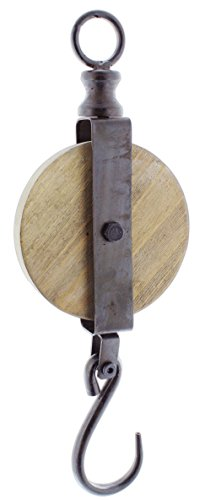 Wooden Pulley - Special T Imports Decorative Pulley Hook (14.5
