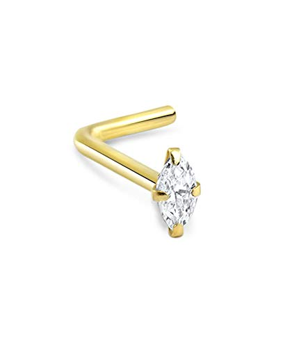 (14k Solid Yellow Gold L Bend Nose Ring Marquise-Shape CZ 20G)