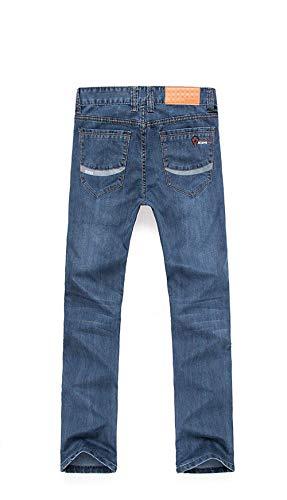 Media Taglie Denim Retrò Casual Abiti Slim A Moda Blu Pantaloni Da Uomo Jeans Comode Fit Vita Alta Dritti R xPY6q