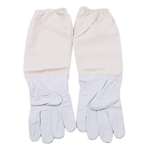 Dergo ☀ Beekeeping Gloves White Sheepskin Thick Canvas Anti-bite Sleeves Gloves 1 Pair Features: (XL)