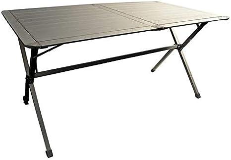 VIAMONDO Mesa de camping de 6 plazas de aluminio plegable y estantes enrollables para autocaravanas