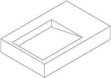 Lavabo//vasque /à suspendre PB2014-74 x 50 x 13cm en r/ésine de synth/èse Solid Stone
