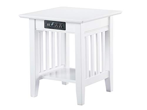 Atlantic Furniture Mission End Table with Charging Station, White (Living Table White Room)