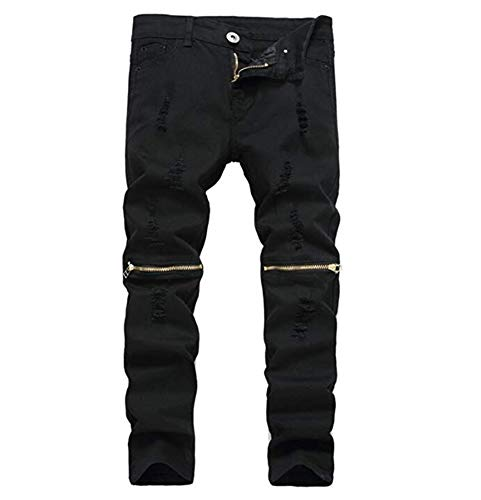 IA ROD CA Boy's Slim Skinny Ripped Distressed Zipper Fit Jeans Pants Black 12 with Holes